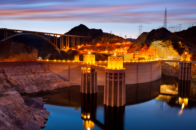 The Hoover Dam light up at night