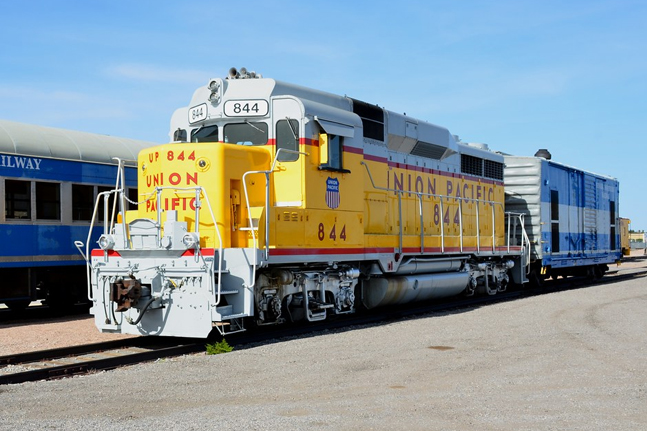 A yellow train at the Nevada Southern Railway