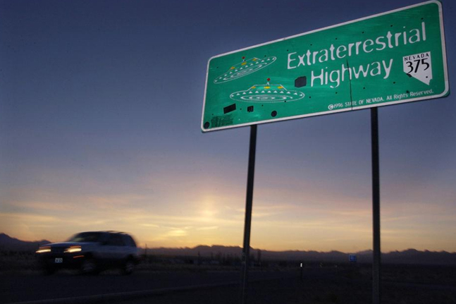 Close up of the Extraterrestrial Highway sign at sunset