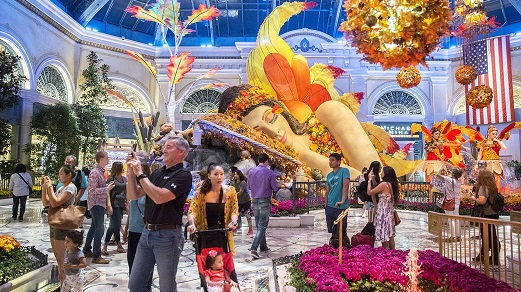 People visiting the Bellagio Conservatory and Botanical Garden