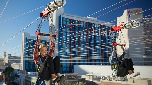 Two people riding a zipline