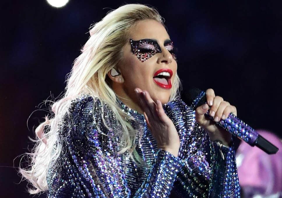 Lady Gaga singing on stage