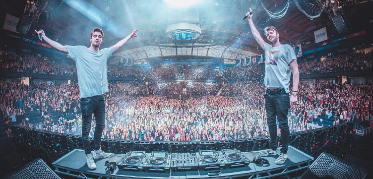 Alex Pall and Drew Taggart of The Chainsmokers on stage