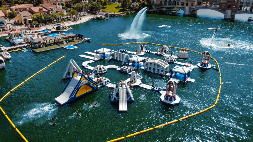 Ariel shot of a water obstacle course