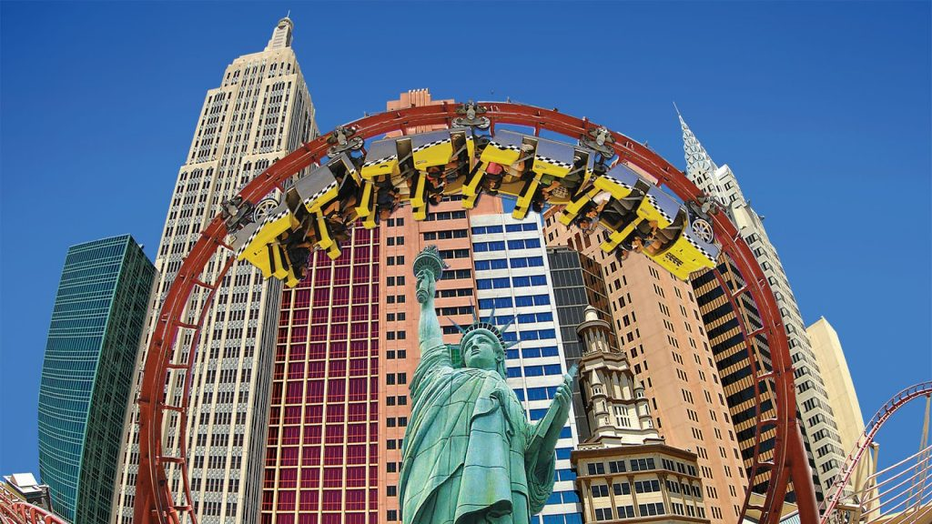 Close up of the Big Apple roller coaster in Las Vegas