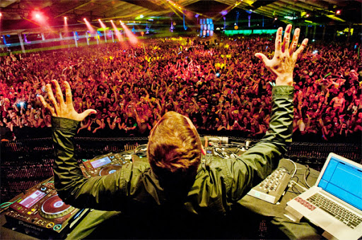 Kaskade performing at a Las Vegas nightclub looking out to the audience